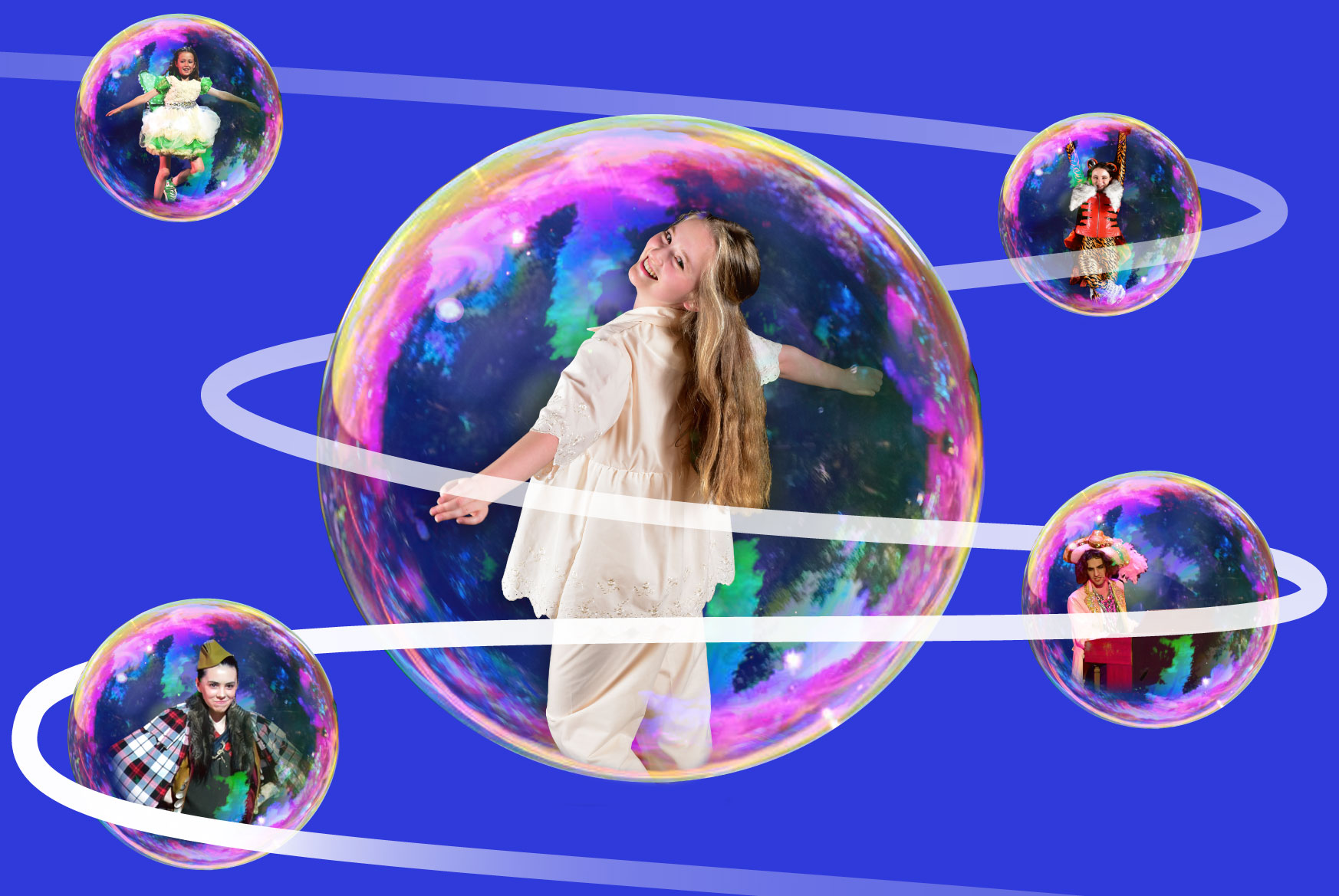 Wendy, floating in a bubble, connected to other bubbles